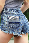 Riveted High Waist Vintage Cutoff Denim Shorts