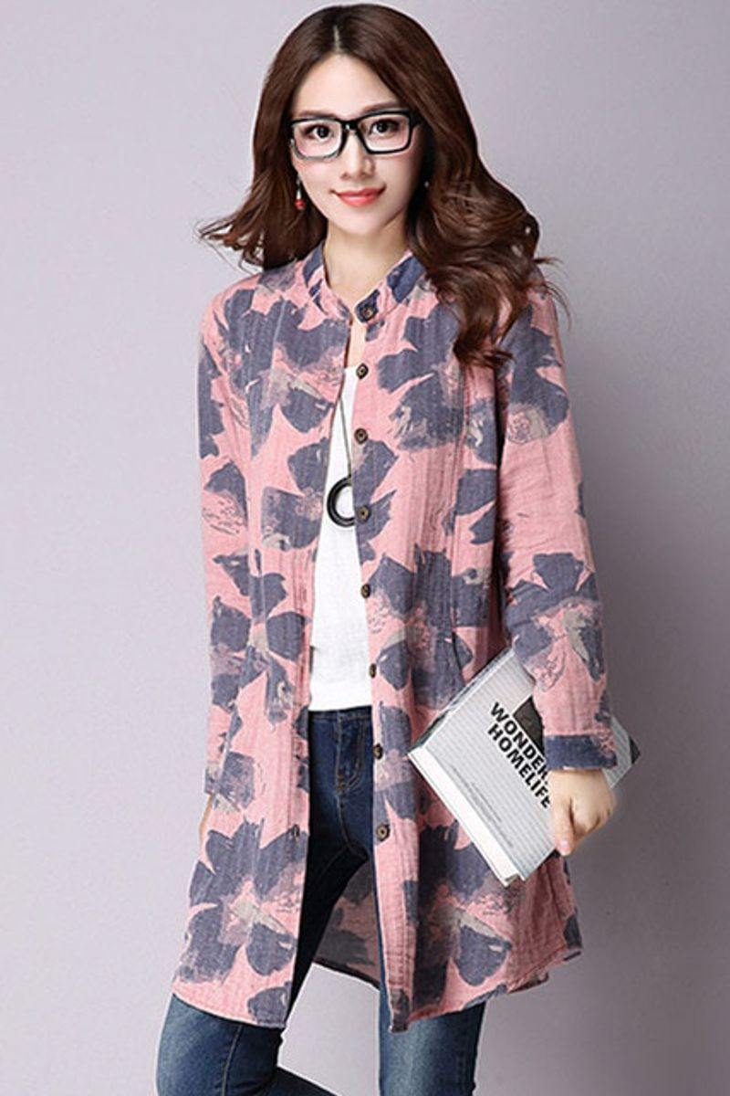 Casual Long Sleeve Floral Print Cotton Linen Blouse with Pockets