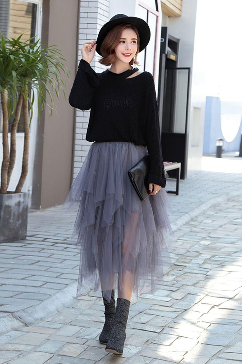 Edgy Mesh Skirt Elastic High Waisted Pleated Midi Skirt - Luv Fashion