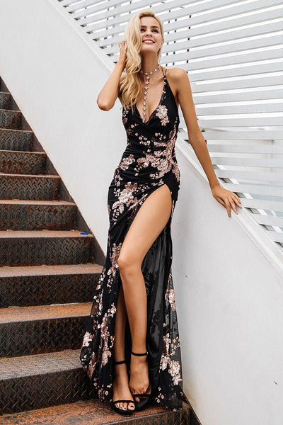 Lace Up Halter Sequin Party Dress Backless High Split Maxi Dress Style