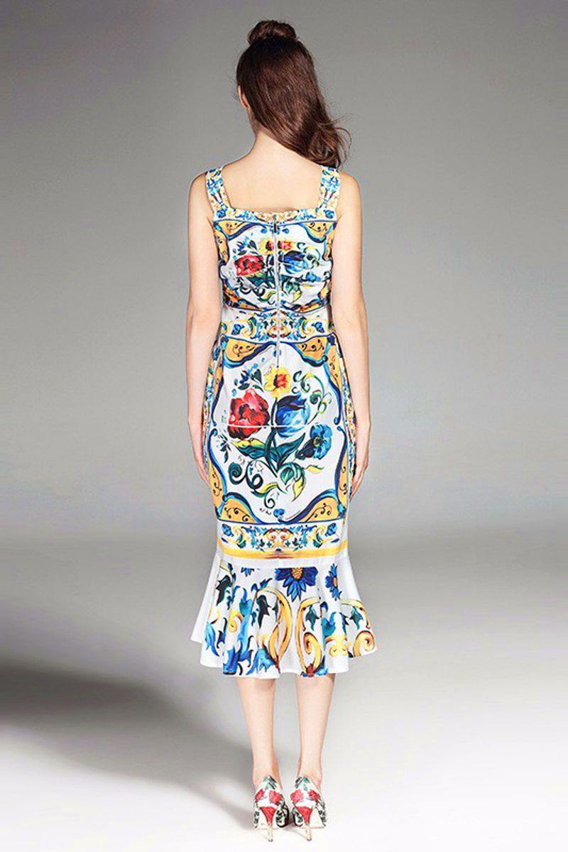Porcelain Print Trumpet Sheath Cocktail Dress