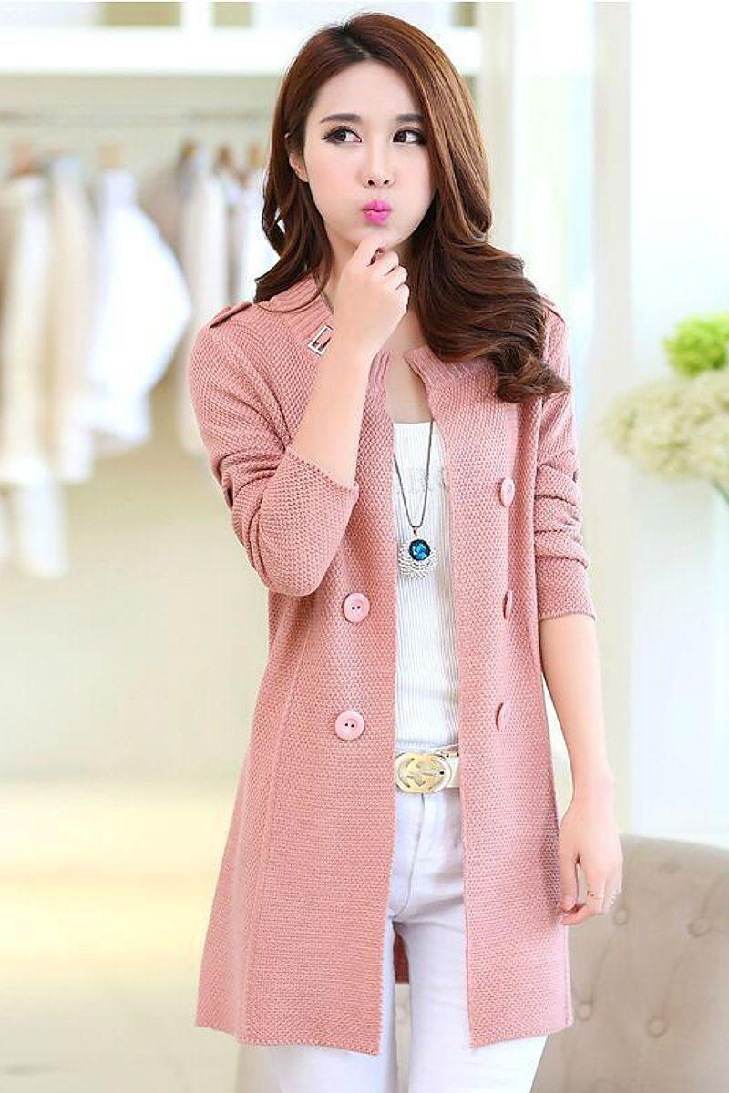 Casual Double Button Belted Cardigan - pink