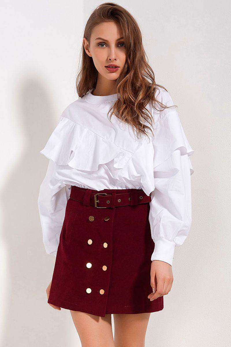 High Waisted A Line Skirt With Belt