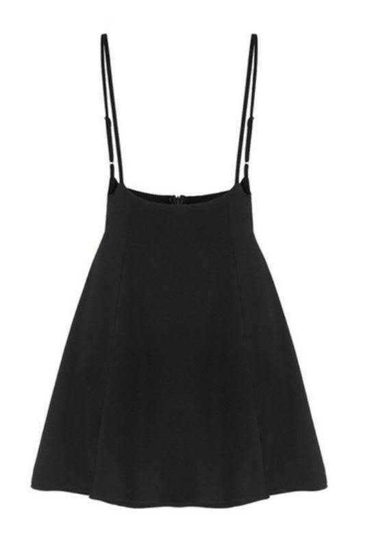 Black Skater Skirt Suspenders High Waisted Style - Luv Fashion