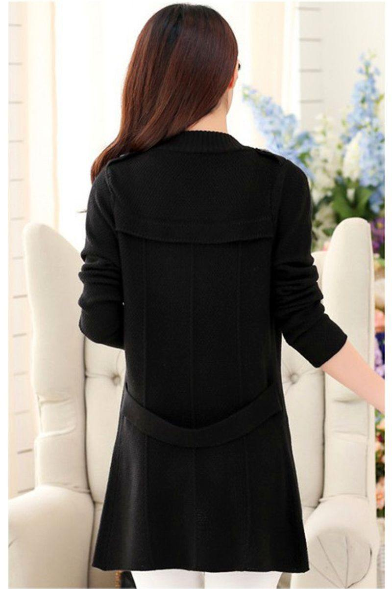 Casual Double Button Belted Cardigan - black back view