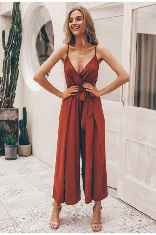 Brick Red Tube Woven Jumpsuit