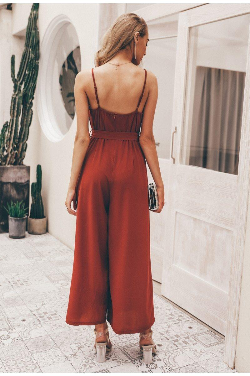 Brick Red Wide Leg Belted Jumpsuit