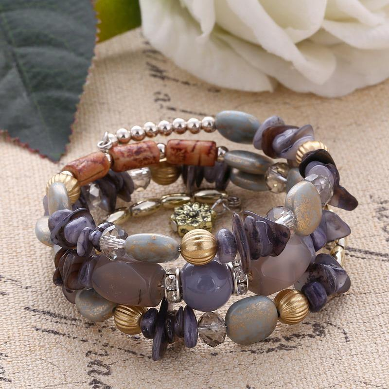 Multilayer Beads Charm Bracelet