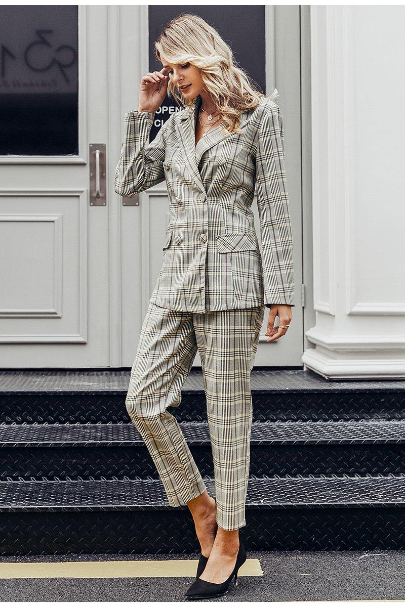 Gray Plaid Blazer + Pants Sets