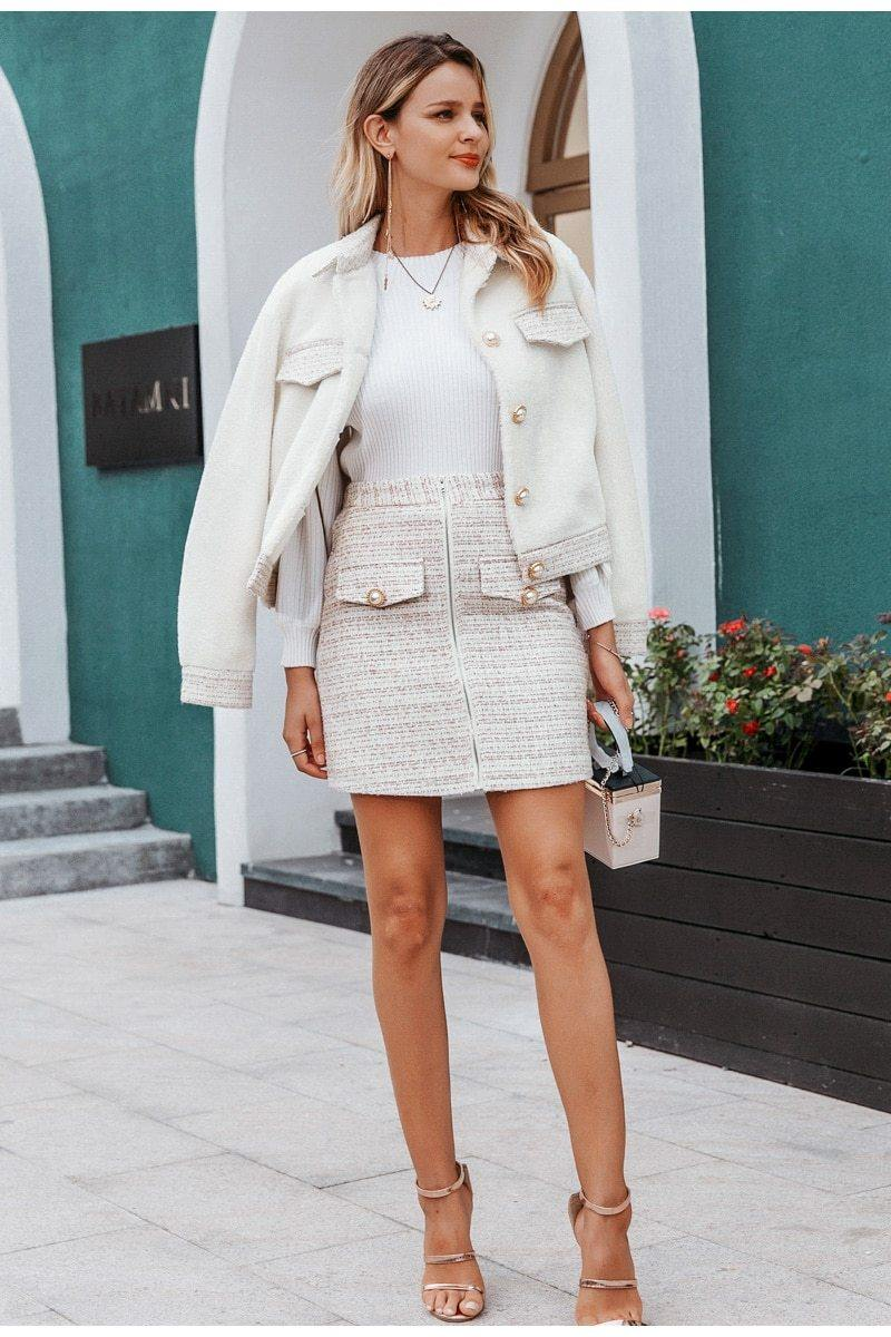 White Plaid Winter Jacket + Skirt Set