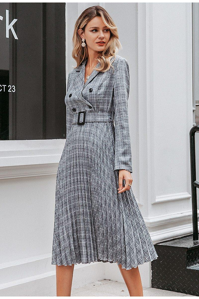 Plaid Gray Belted Midi Dress