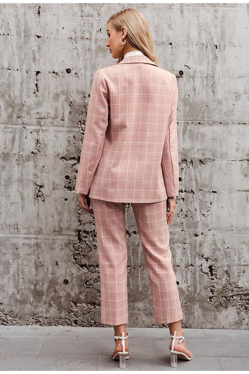 Pink Plaid Blazer + Pants Set
