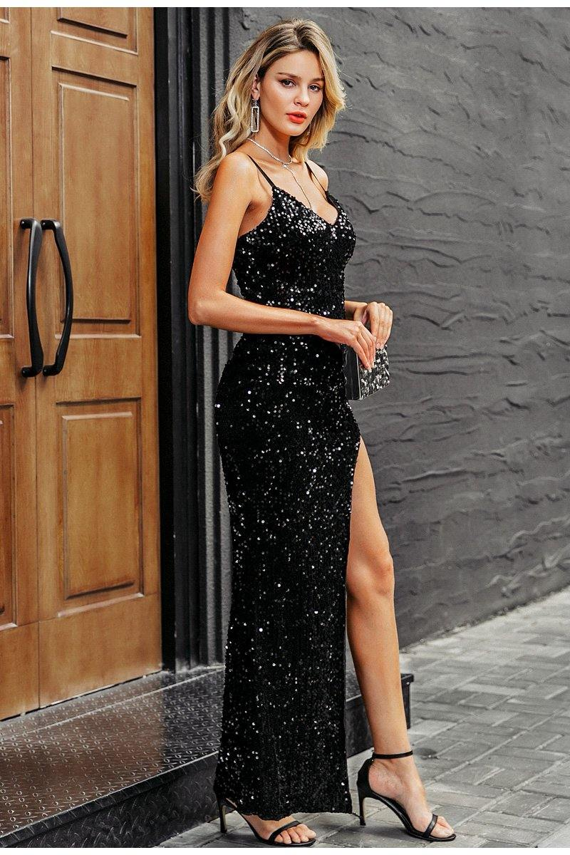 Gwen Sequined Split Maxi Dress