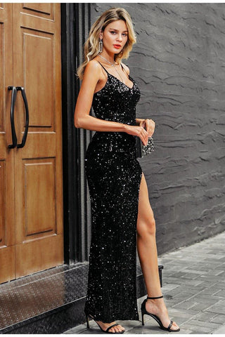 Deep V-Neck Sequined Dress