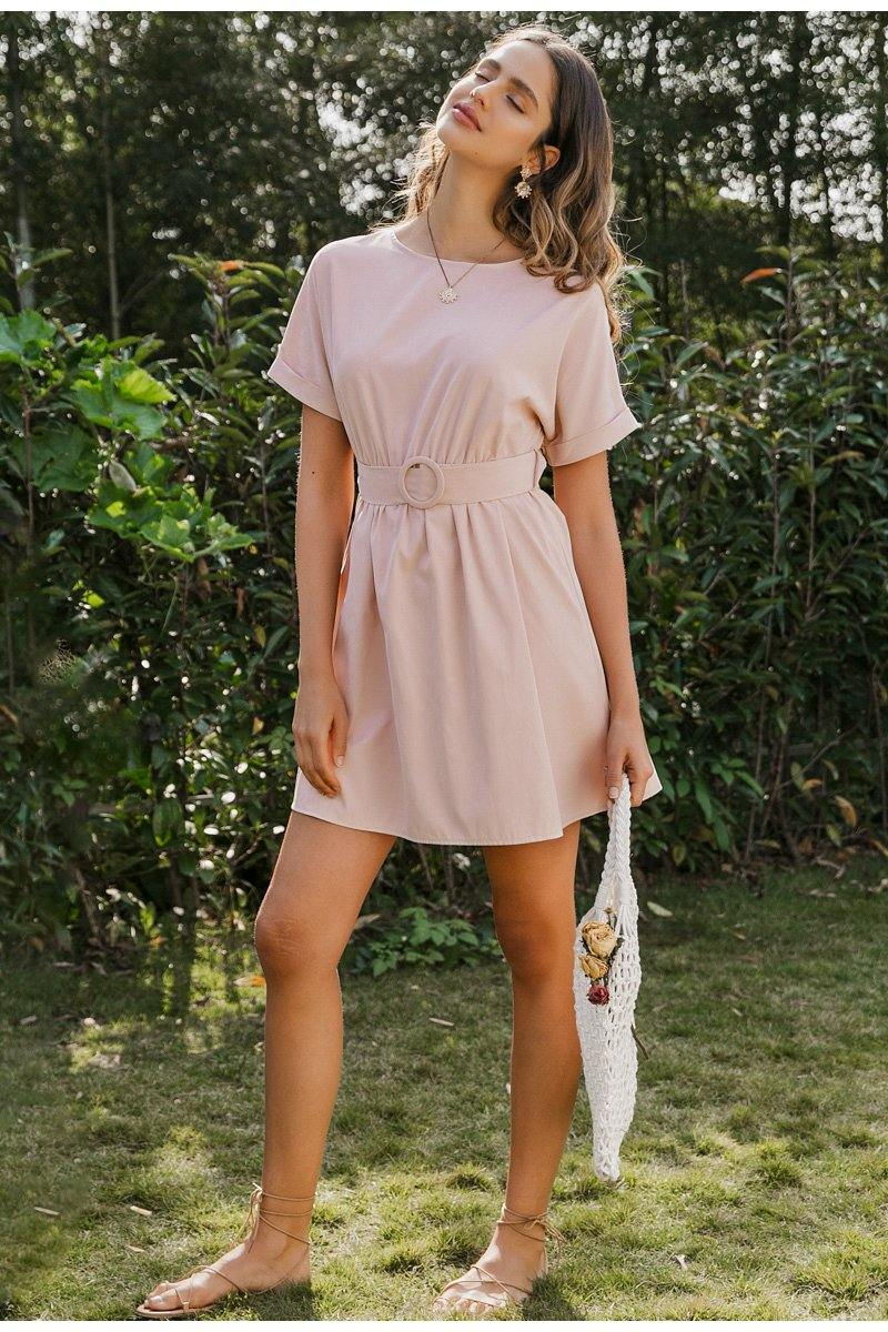 Amber Casual Pink Mini Dress