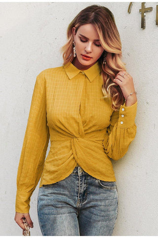 Yellow Belted Asymmetrical Blouse