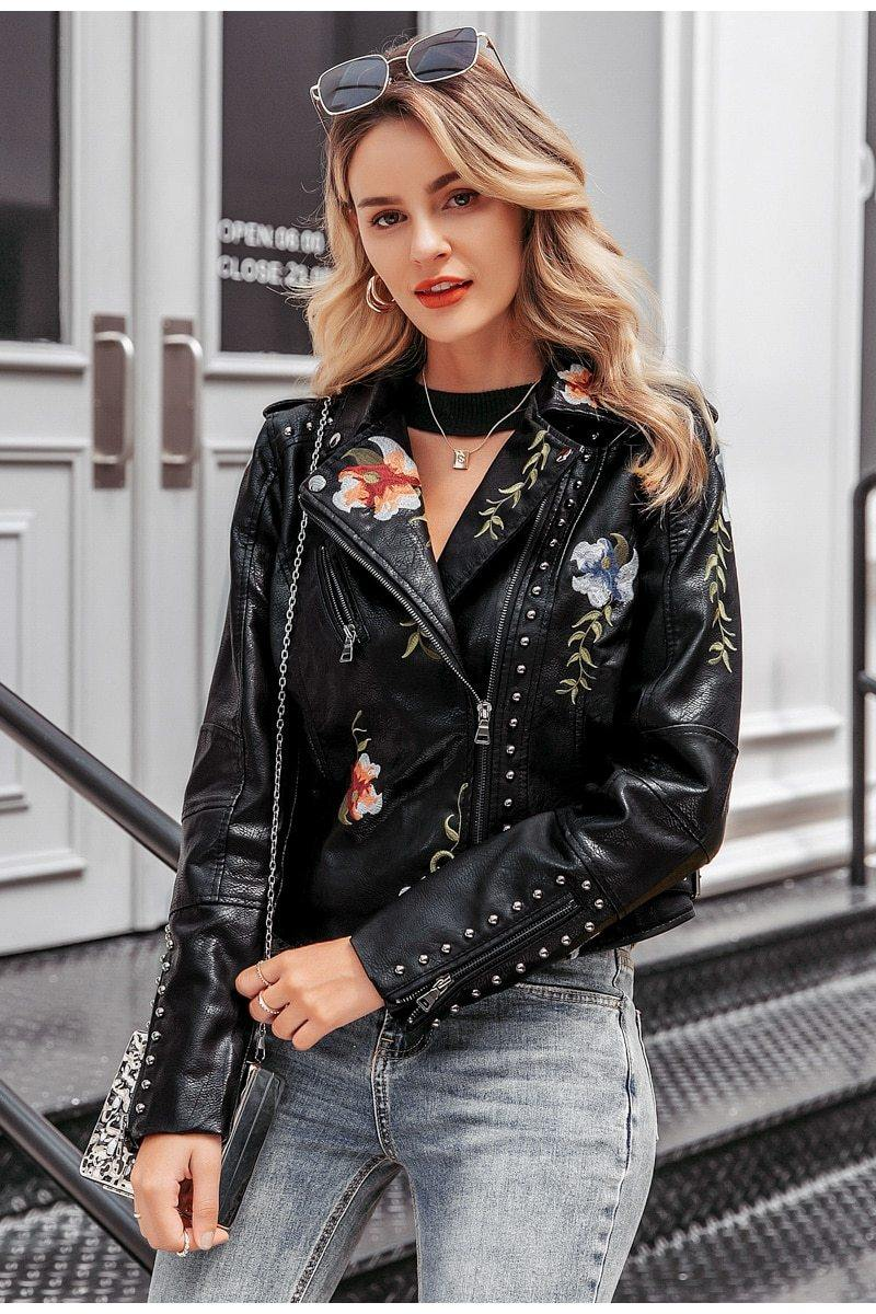 Black Embroidery Faux Leather Jacket