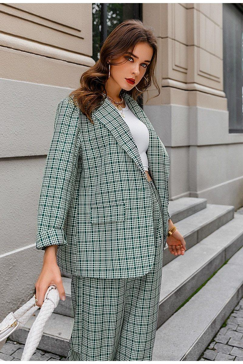 Green Plaid blazer + Pants Set