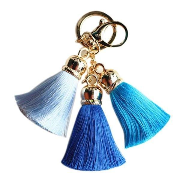Colorful Silk Tassel Pompom Keychain