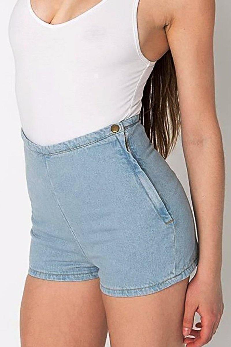 Stretch Side Zip Womens High Waisted Shorts - Luv Fashion