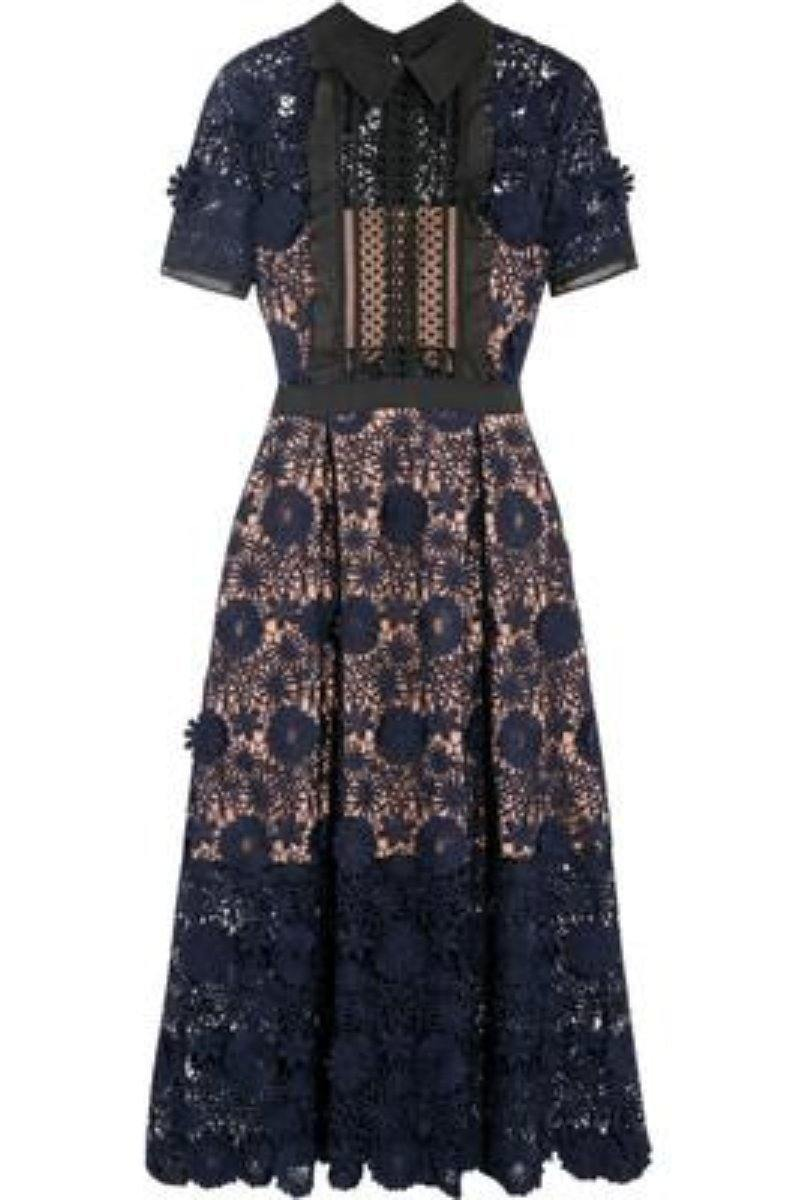 Elegant Self Portrait Dress Navy Blue Floral Lace Dress - Luv Fashion