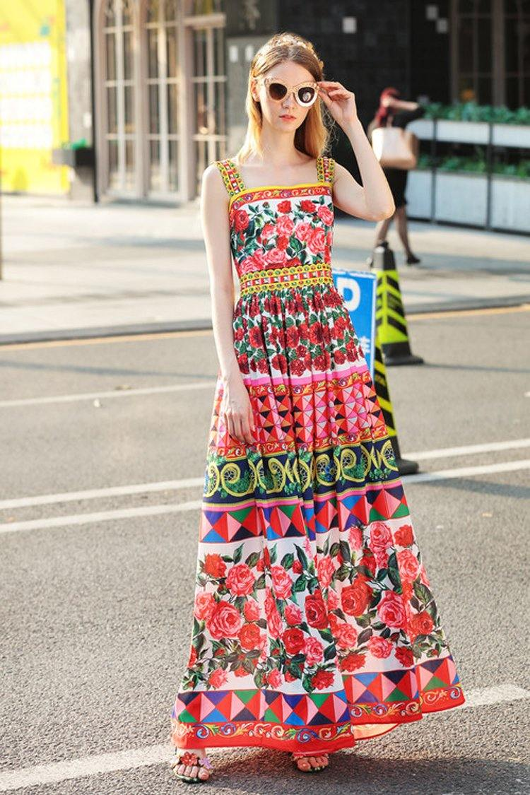 Charming Vintage Floral Print Beading Maxi Dress
