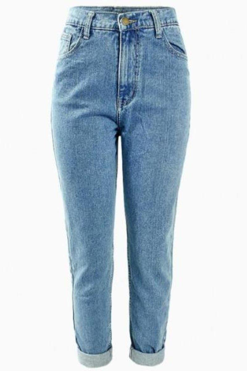 True Denim High Waisted Washed Light Blue Boyfriend Jeans - Luv Fashion