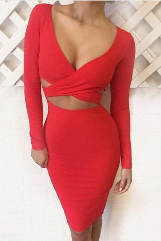 Long Sleeve Crossover Bodycon Club Dress