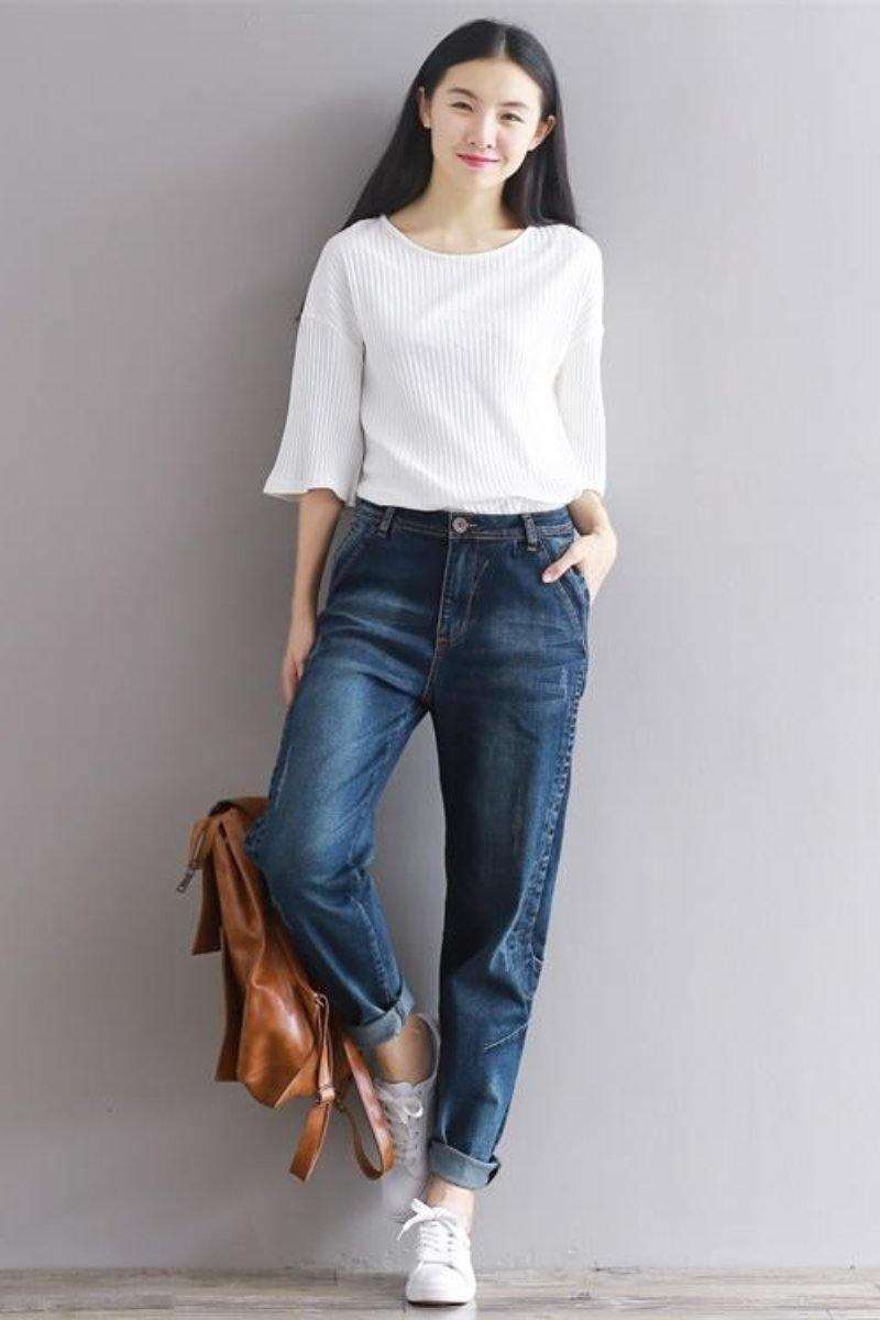 Womens Boyfriend Jeans High Waisted Casual Loose Style - Luv Fashion