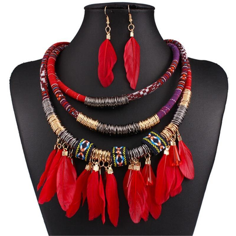 Multilayer Feathery Necklace + Earrings Set