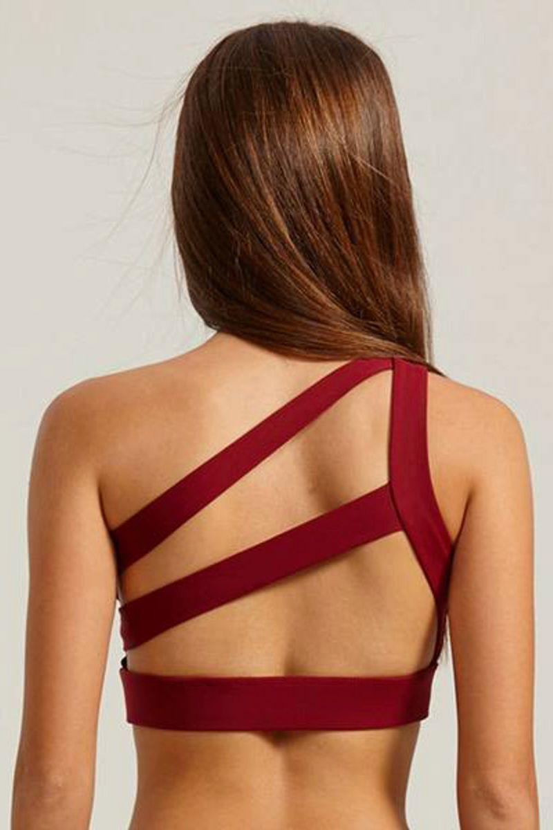 Red One Shoulder Fitness Crop Top - backview