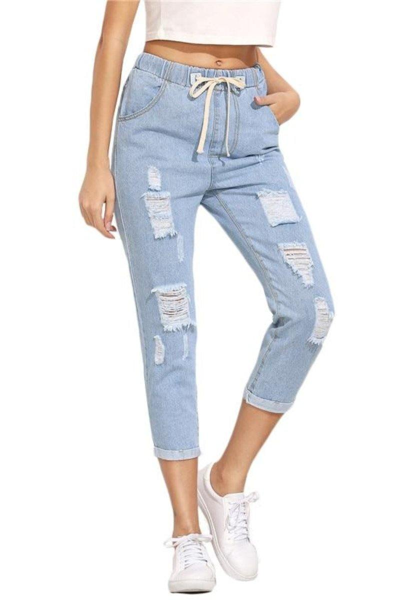 Blue Drawstring Ripped Jeans