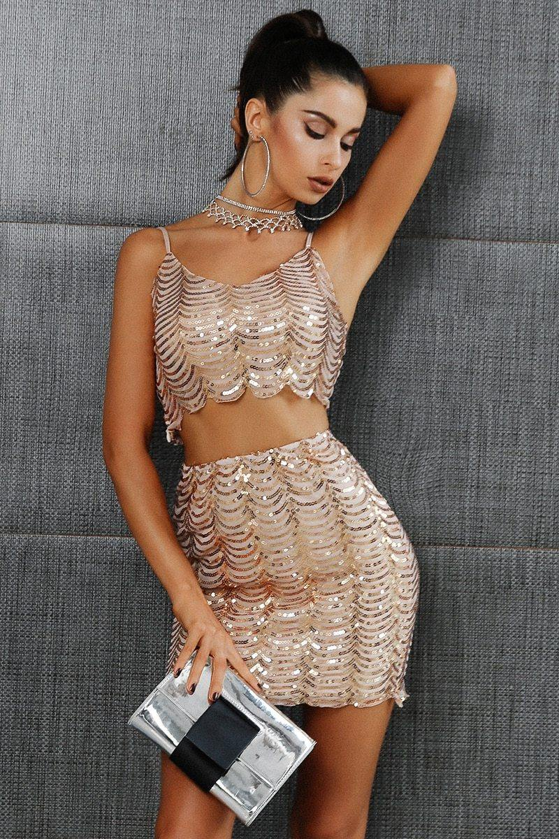 Sequined Crop Top + Skirt  Set