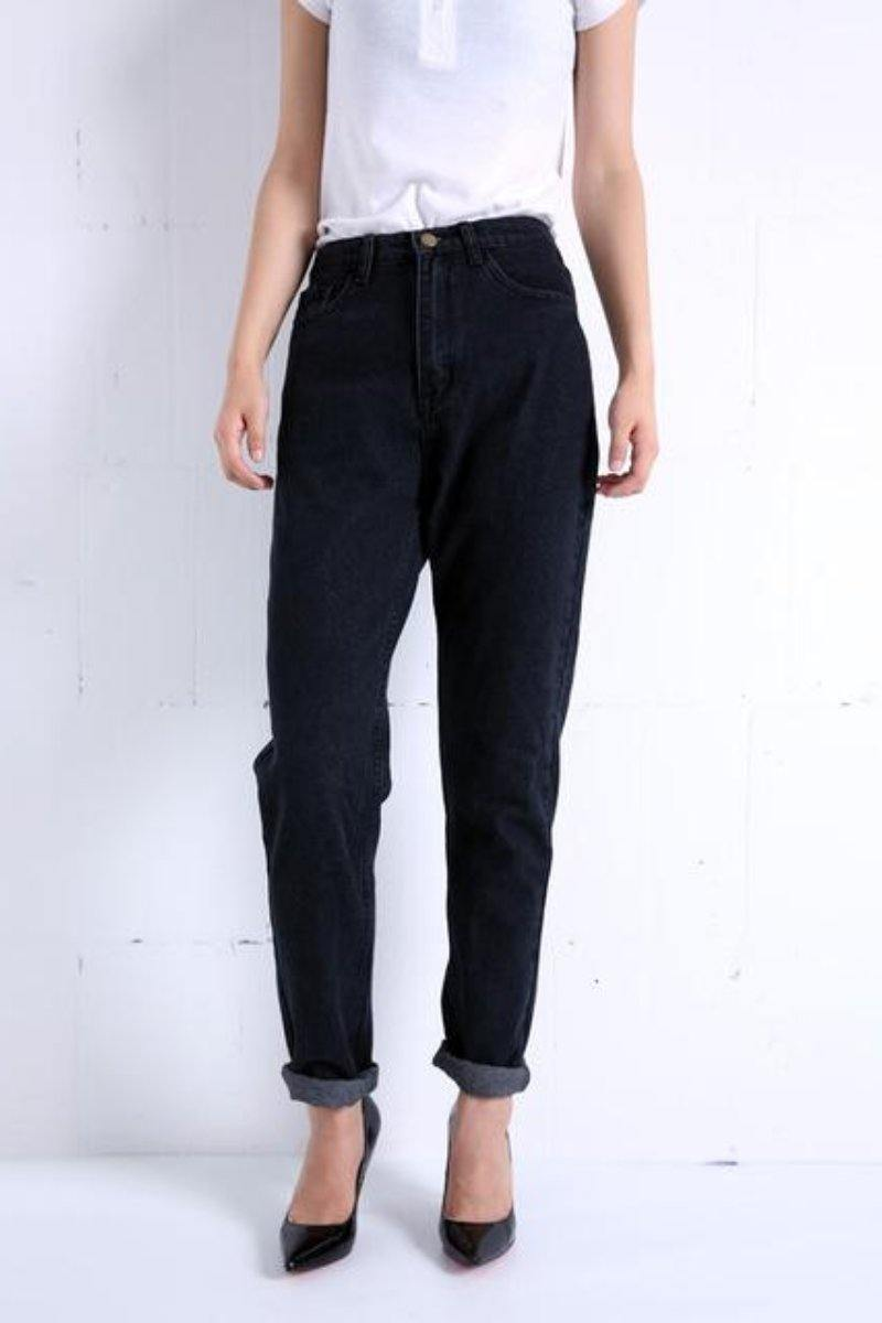 Slim Vintage High Waist Pencil Jeans  black