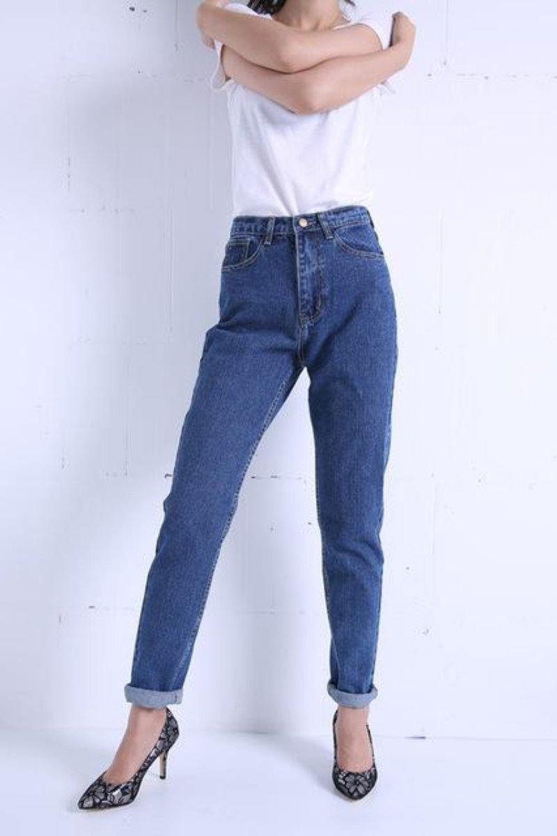 Slim Vintage High Waist Pencil Jeans dark blue