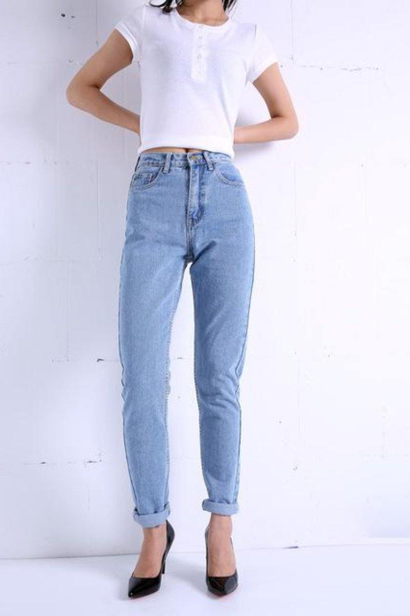 Slim Vintage High Waist Pencil Jeans - Luv Fashion