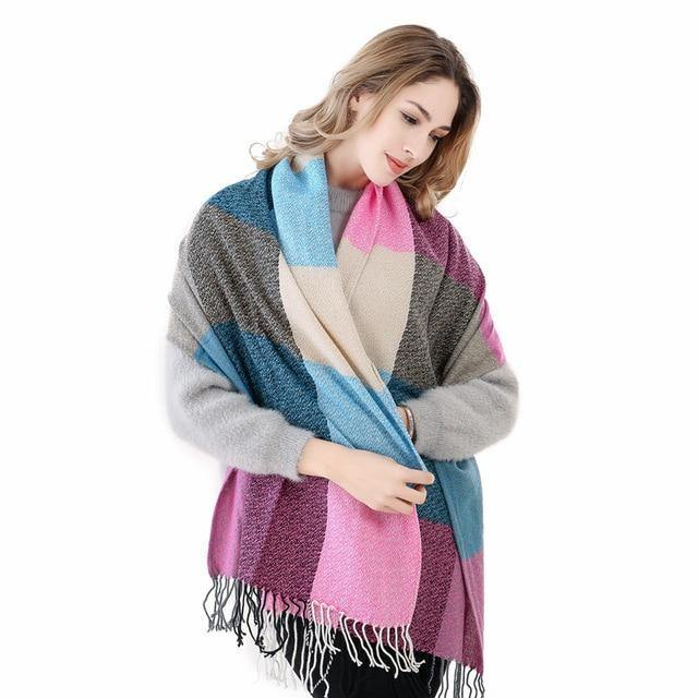 Plaid Cashmere Thick Scarves