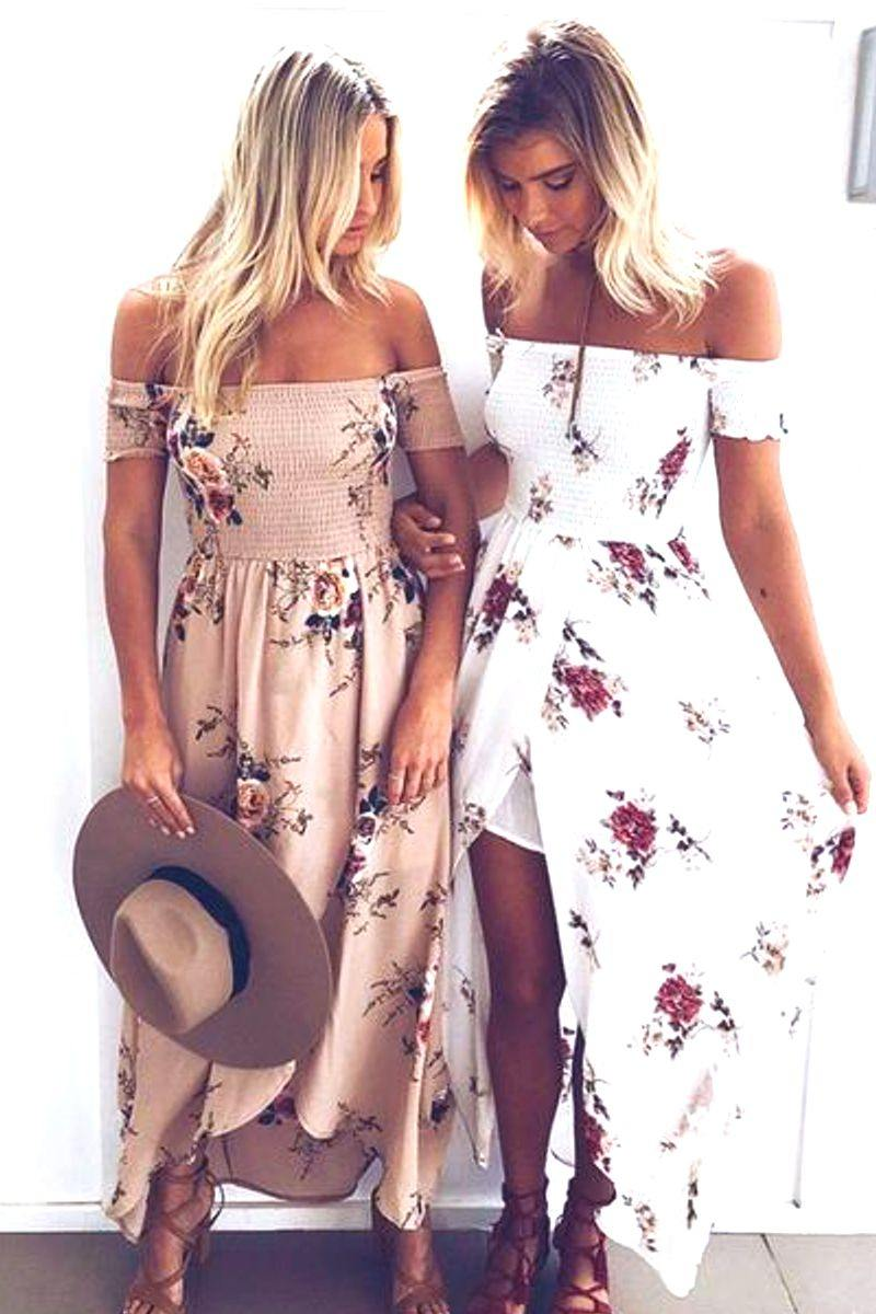 Off Shoulder Floral Print Boho Dress
