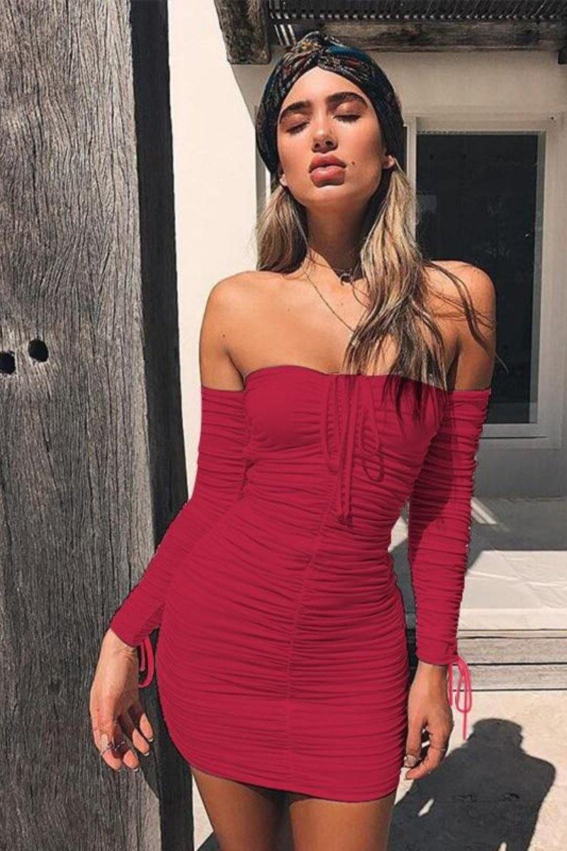 Off The Shoulder Bodycon Dress Long Sleeve Casual - Luv Fashion