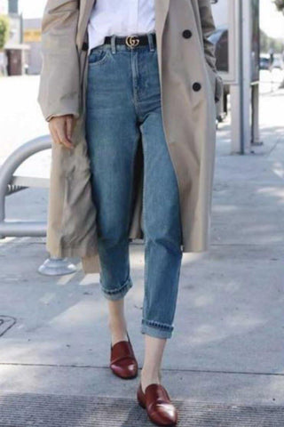 High Waist Loose Cowboy Boyfriend Denim Jeans