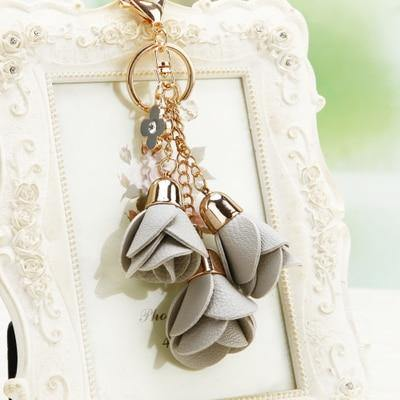 Leather Rose Keychain - Luv Fashion
