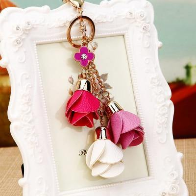 Leather Rose Keychain