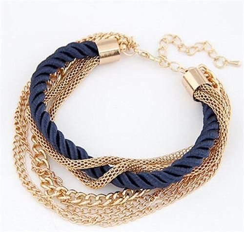 Multilaye Rope Chain Charm Bracelet