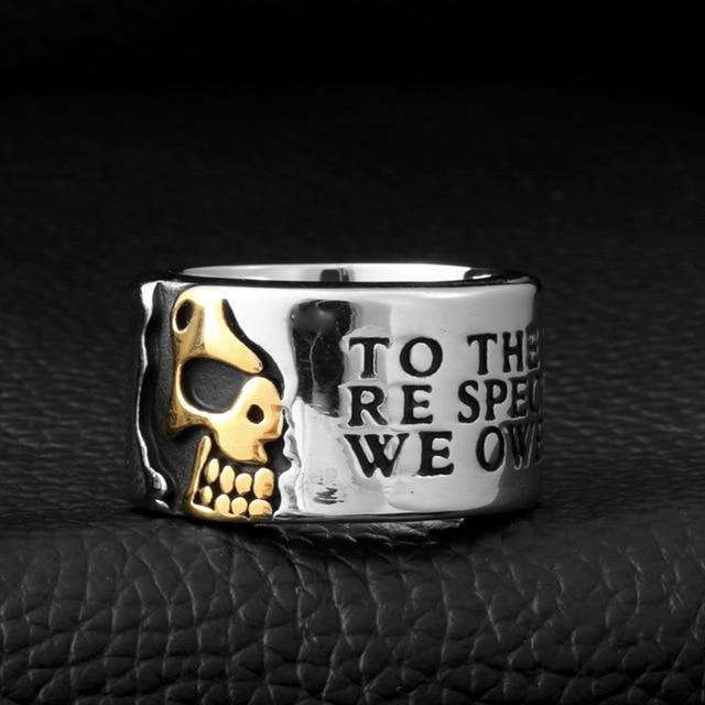 Half Skeleton Stainless Skull Ring