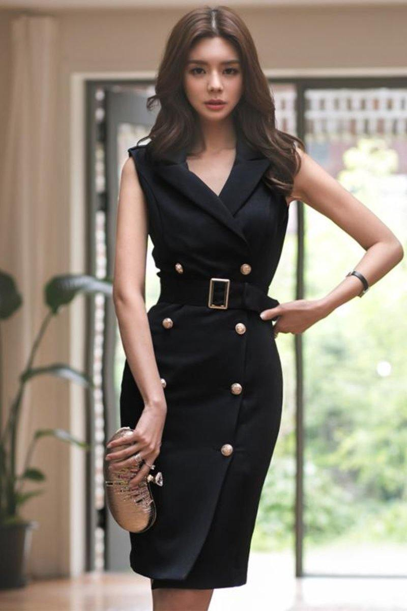 Elegant Belted Double Button Office Mini Dress