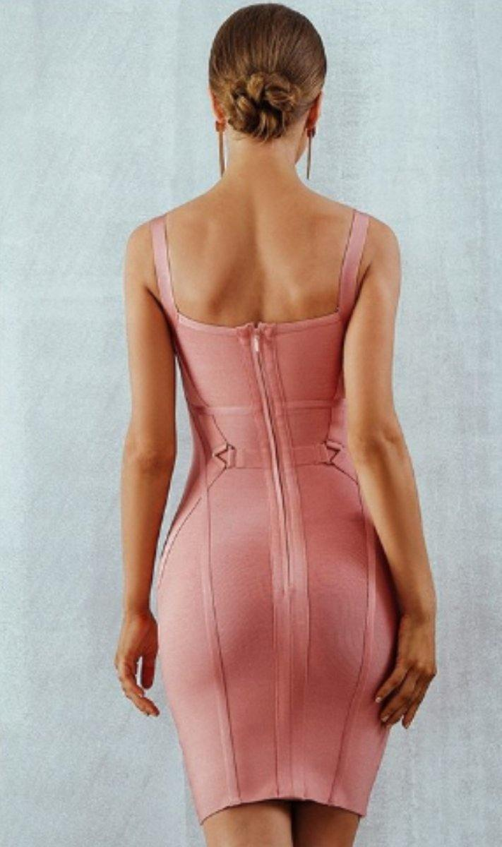 Pink Mini Bandage Spaghetti Strap Hollow Out Celebrity Party Dress - Luv Fashion