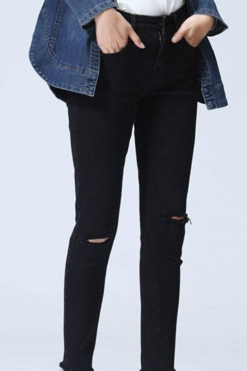 Black Distressed Jeans Casual Simple Stretch Jeans - Luv Fashion