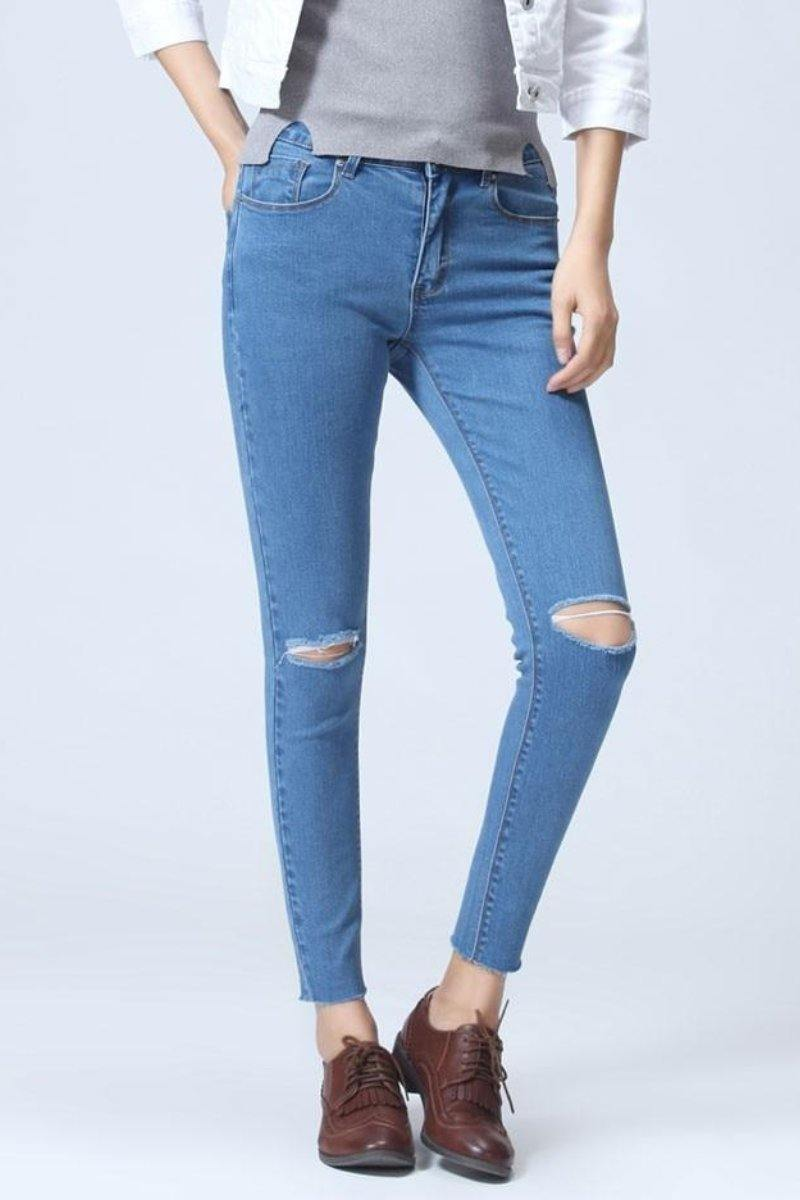 Blue Distressed Jeans Casual Simple Stretch Jeans - Luv Fashion