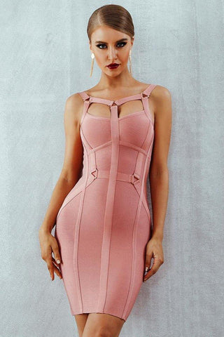 Pink Bodycon Bandage Dress