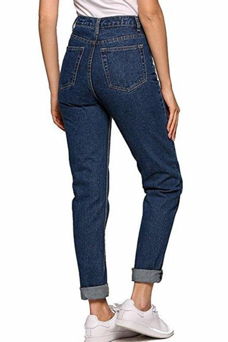 Retro Pencil denim Boyfriend Jeans High Waisted Casual Style - Luv Fashion